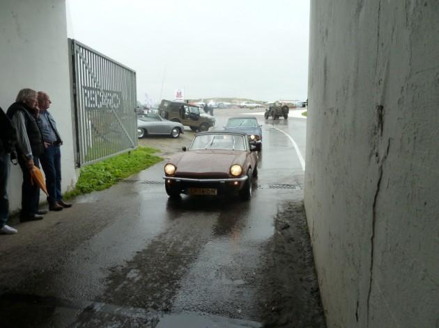Triumph Spitfire in de regen